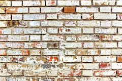 Shabby Colorful White Red Brick Wall Royalty Free Stock Photo
