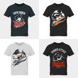 Shabby dangerous fish t-shirt emblem. Stock Image