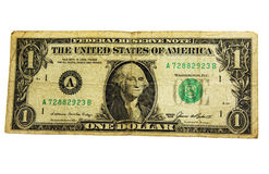Shabby dollar. Old shabby American dollar, which  replacements with new money Stock Image