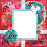 Shabby Floral Photo Frame Stock Image