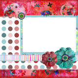 Shabby Floral Photo Frame or Scrapbook Background Royalty Free Stock Photography