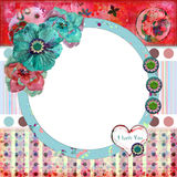 Shabby Floral Photo Frame/Scrapbooking Background Stock Photo