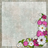 Shabby grey background with  flowers Royalty Free Stock Photos