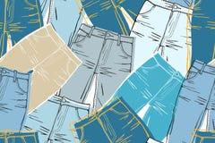 Shabby jeans seamless vector illustration
