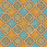 Shabby pattern. Seamless geometric shabby pattern in green and yellow colors Stock Images