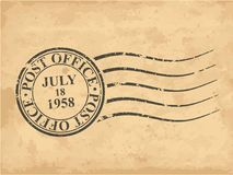 Shabby post stamp on old grungy paper. Vector illustration royalty free illustration