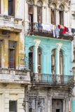 Shabby residential houses in Havana, Cuba Stock Images