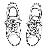 Shabby Running Shoes in Black Ink Stock Photos
