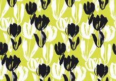 Shabby sketch tulip flower seamless pattern. Stock Photos