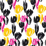 Shabby sketch tulip flower seamless pattern. Stock Images