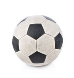 Shabby soccer ball on white background. stock images