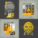Shabby t-shirt aircraft emblem illustration. Royalty Free Stock Photography