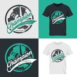 Shabby t-shirt athletic club emblem illustration. Modern fitness center isolated tee print vector design set. Premium quality superior champion logo concept Stock Illustration