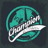 Shabby t-shirt athletic club emblem illustration. Threadbare iron barbell. Royalty Free Stock Photography