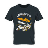Shabby t-shirt mock up. Vintage American muscle car old grunge effect tee print vector design illustration Stock Photography