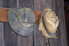 Shabby vintage hats. Two old hats, one of felt, one of straw, hanging on pegs against distressed wooden plank wall Stock Photos