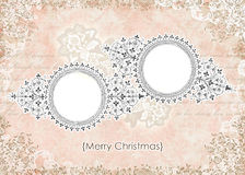 Shabby Vintage Pink Floral Christmas Card Frame Royalty Free Stock Image