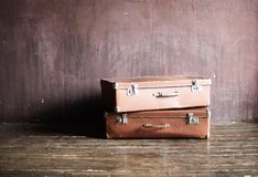 Shabby Vintage Stacked Ancient Suitcases Travel royalty free stock photography