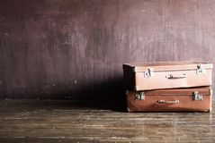 Shabby Vintage Stacked Ancient Suitcases Travel stock images