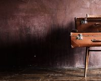 Shabby Vintage Stacked Ancient Suitcases Travel stock photos