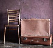 Shabby Vintage Stacked Ancient Suitcases Travel stock photo