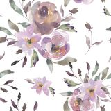 Shabby Vintage Watercolor Floral Seamless Pattern, Watercolor Roses in Dust Pink Colors vector illustration