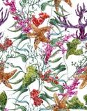 Shabby vintage watercolor sea life seamless Royalty Free Stock Photo