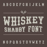Shabby Vintage Whiskey Font. Alcohol Drink Label Design. Stock Photos