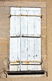 Shabby White Painted Window Shutter Stock Photography