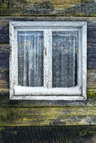 Shabby window wooden background winter Stock Images