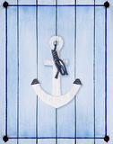 Shabby  Wood Background with anchor Royalty Free Stock Photos
