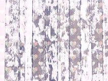 Shabby wood-grain λευκό σύστασης που πλένεται με το στενοχωρημένο σχέδιο καρδιών Στοκ Εικόνες