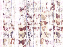 Free Shabby Wood-grain Texture White Washed With Distressed Butterfly Pattern Stock Photography - 52770112