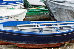 Shabby Wooden Boats. Wooden Boats on the Mediterranean Coast in the Italian City of Cetara Royalty Free Stock Image