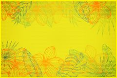 Shabby yellow copy space, framing from plumeria flowers and tropical leaves. Shabby floral copy space, framing from plumeria flowers and tropical leaves vector Stock Image