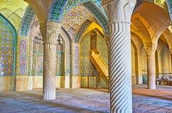 Shabestan da mesquita de Vakil, Shiraz, Irã Imagem de Stock