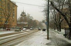 Shabolovkastraat in de winter Royalty-vrije Stock Afbeeldingen