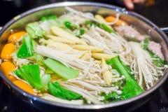 Shabu Shabu i Sukiyaki jedzenia hotpot Fotografia Stock