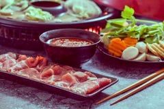 Shabu shabu. Asian cuisine on table stock photography