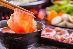 Shabu shabu. Asian cuisine on table royalty free stock photography