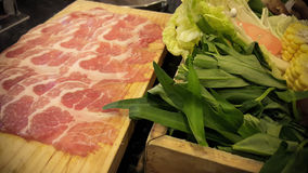 Shabu shabu food set, japanese food in restaurant Royalty Free Stock Photography
