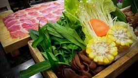 Shabu shabu food set, japanese food in restaurant Royalty Free Stock Images