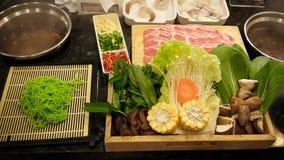 Shabu shabu food set, japanese food in restaurant Stock Images