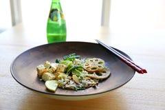 Shabu Shabu on Plate Beside Chopstick and Soda Bottle Stock Photos
