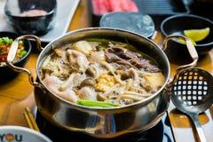 Shabu y sukiyaki de la comida de Tailandia foto de archivo