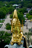 Shachi-Gawara statue (Roof tile in the form of the legendary dol. Phin-like fish) at atop Osaka Castle on July 10, 2015 in Osaka, Japan Royalty Free Stock Photo
