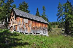 Shack in alp landscape Royalty Free Stock Image