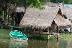Shack. Bamboo shack restaurants near the reservoir stock photos