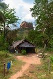 Shack davanti ad alta roccia sotto la foresta verde Fotografia Stock Libera da Diritti