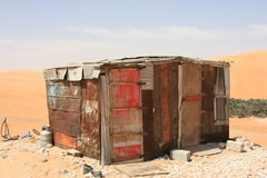 Shack in desert. Old shack in Rub' al Khali desert, Arabian Peninsula Royalty Free Stock Photos
